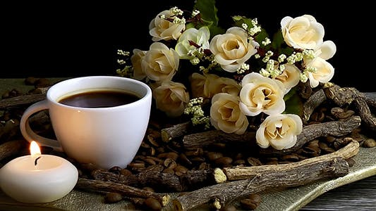 Thumbnail for Coffee with Coffee Beans Candle and Flowers