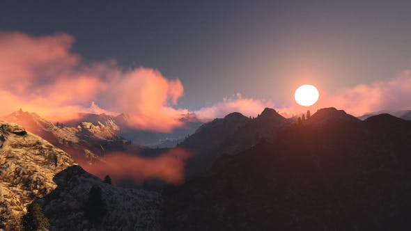 Thumbnail for Fly Over Mountains During Sunset V3