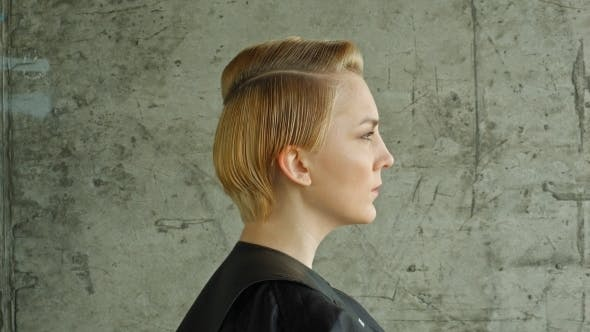 Thumbnail for Haircut. Hairstyle. Beautiful Model With Short Hair