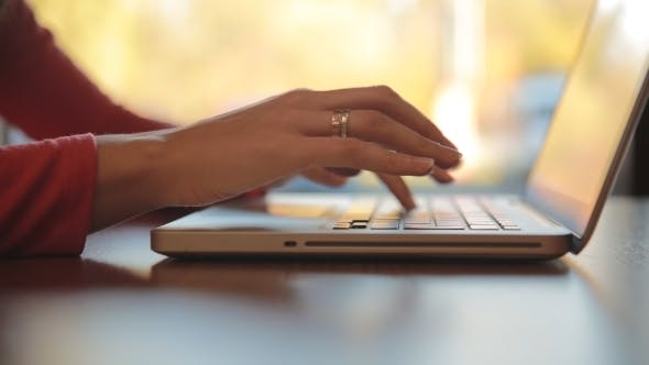 Thumbnail for Woman Typing On Laptop, Computer By The Window