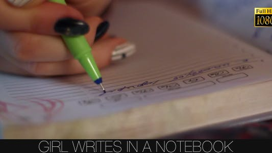 Thumbnail for Girl Writes In A Notebook 2