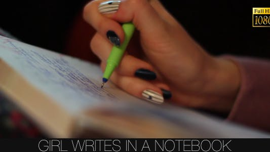 Thumbnail for Girl Writes In A Notebook 6