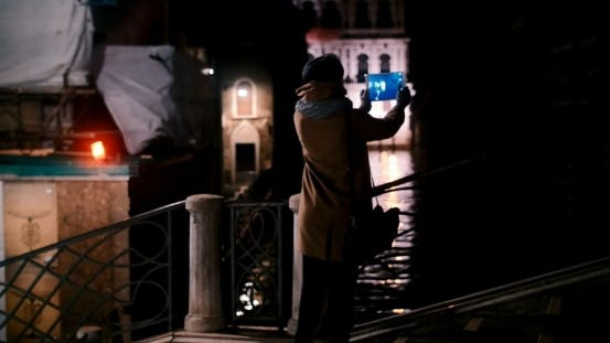 Thumbnail for Walking In Night Venice And Taking Pictures With