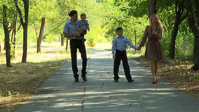 Family Walking on the Avenue