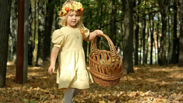 Thumbnail for Cute Girl With a Basket Full At The Autumn Park
