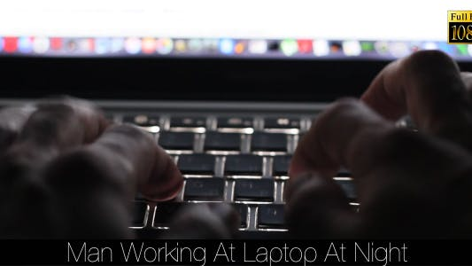 Thumbnail for Man Working At Laptop At Night 4