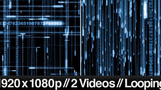 Thumbnail for 2 Digital Data Stream Matrix Effect Videos - LOOP