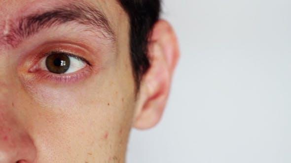 Human Emotions. The Man's Face Depicting Men