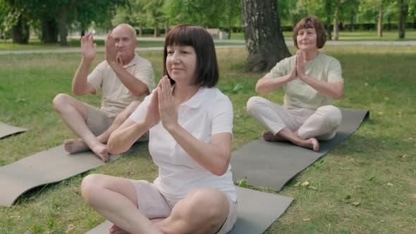 Three Active Seniors Meditating Outdoors