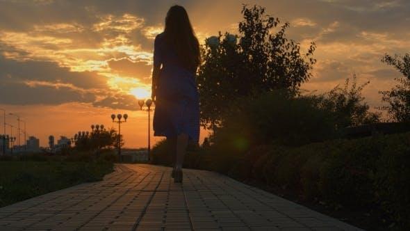 Thumbnail for Girl Walking Away Through Park At The Sunset