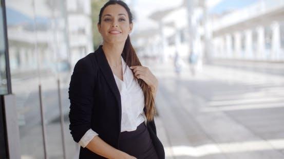 Thumbnail for Elegant Businesswoman Standing Waiting
