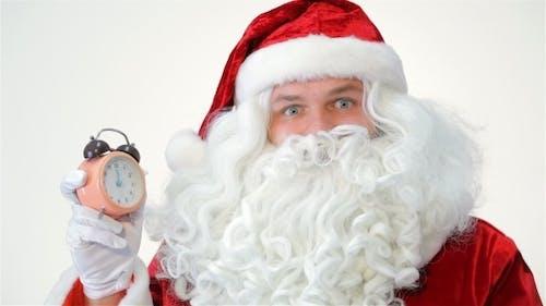Santa Stares At The Clock.