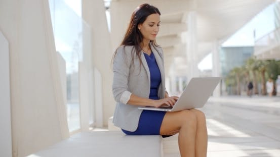 Adorable Business Woman Working On Computer
