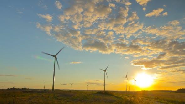 Thumbnail for Windmills Generators At Sunset