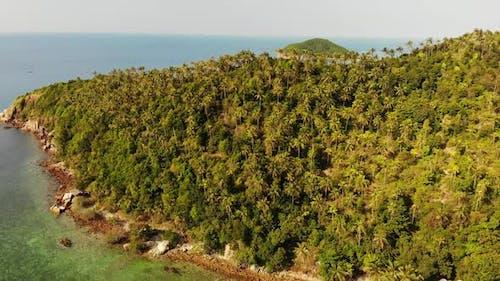 Luftaufnahme Drohne Ansicht Kleine Insel Koh Ma, Ko Phangan Thailand