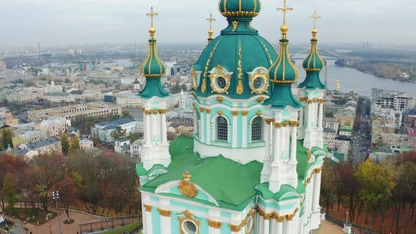 Thumbnail for Flying Around Saint Andrews Church in Kiev. The Famous Andrew's Descent in the Capital of Ukraine