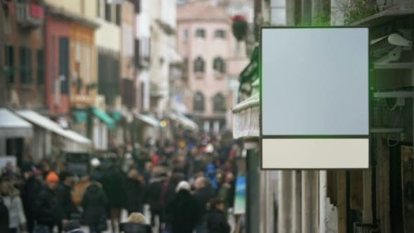 Thumbnail for Blank Banner Hanging In Crowded Street