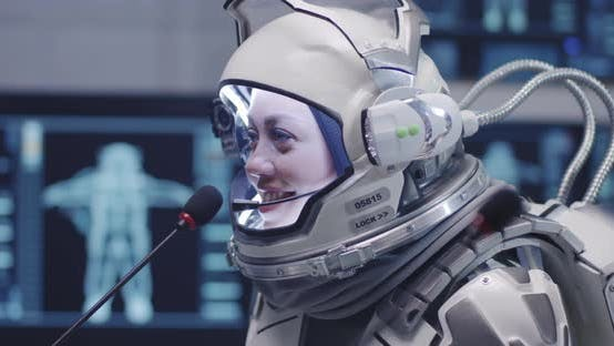 Thumbnail for Female Astronaut Talking at Press Conference