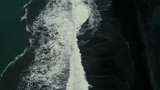 Thumbnail for Strong Wave with Foam Coming To the Shore of the Black Volcanic Beach