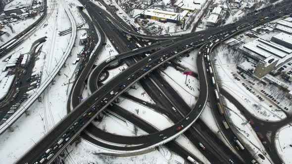 Thumbnail for Aerial View Car Motion on Road Interchangeat Winter, Car Jam on Highway Junction