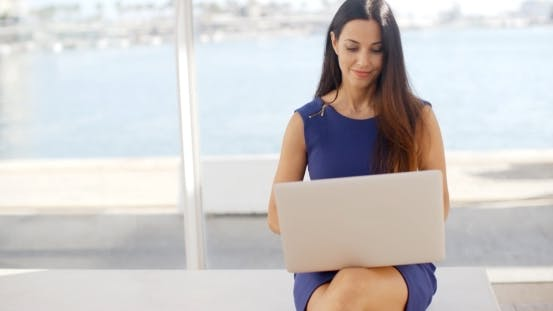 Cover Image for Woman Sitting On a Waterfront Bench Using a Laptop