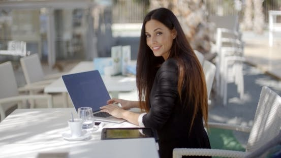 Thumbnail for Elegant Businesswoman Working On a Laptop
