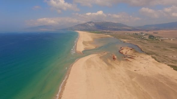 Thumbnail for Aerial View From Flying Drone Over Beach And Sea