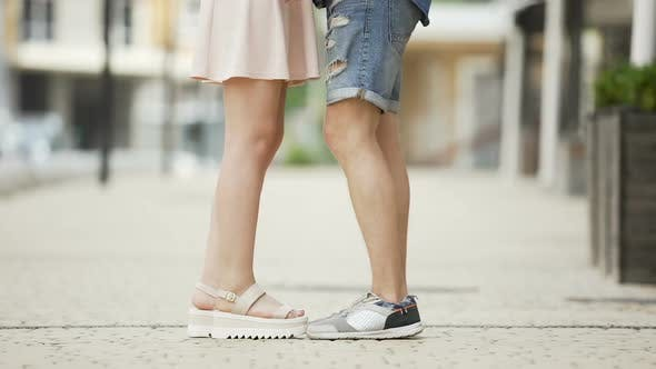 Thumbnail for Feet of Male and Female Coming to Each Other, Girl Raising on Tiptoes, Dating