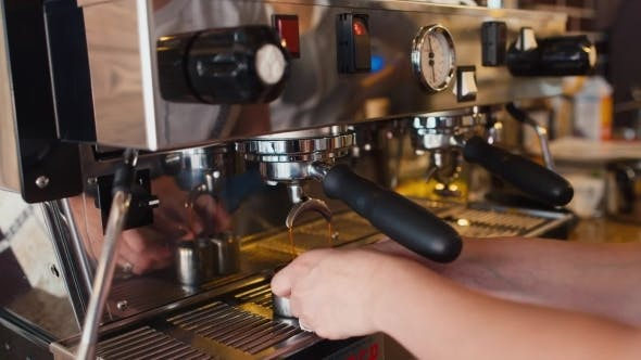 Professional Preparation Of Coffee In The Coffee