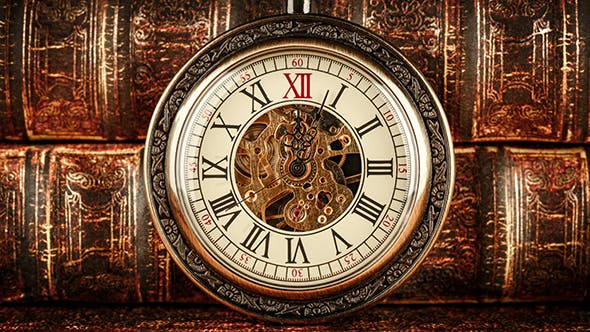 Thumbnail for Vintage Antique Pocket Watch Against The Old Books