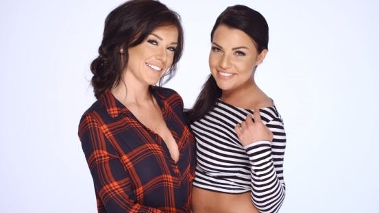 Thumbnail for Two Brunette Girls In Casual Clothes Posing