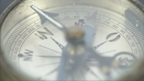 An Old Small Round Compass on a Table