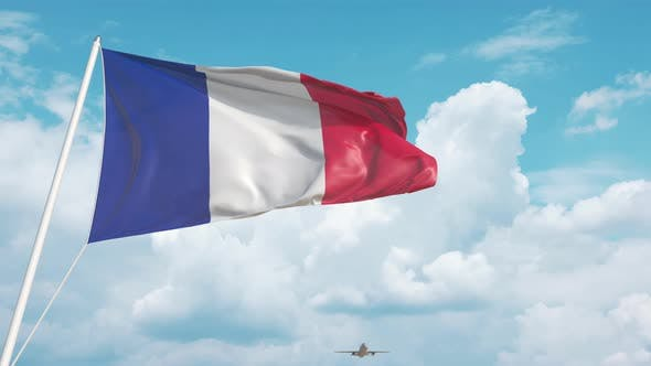 Plane Arrives to Airport with National Flag of France