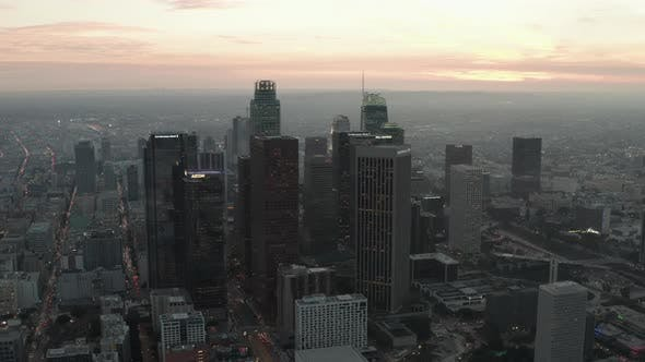 Thumbnail for Breathtaking View of Skyscrapers in Downtown Los Angeles, California at Beautiful Sunset