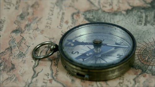 A Round Compass with its Pointer Moving
