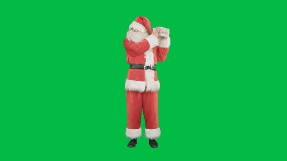 Thumbnail for Happy Santa Claus Carrying Gifts On a Green Screen