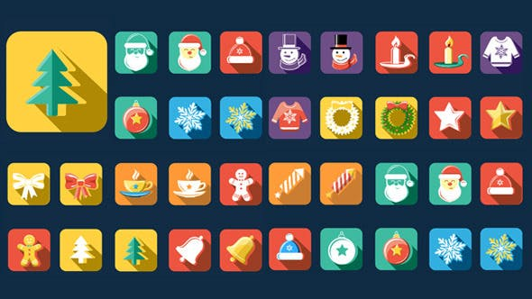 Thumbnail for Flat Style Animated Christmas And New Year Icons