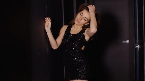 Sensual Woman Elegance Dressed Ar Darkness