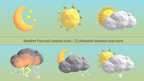 Wettervorhersage Lowpoly Icons