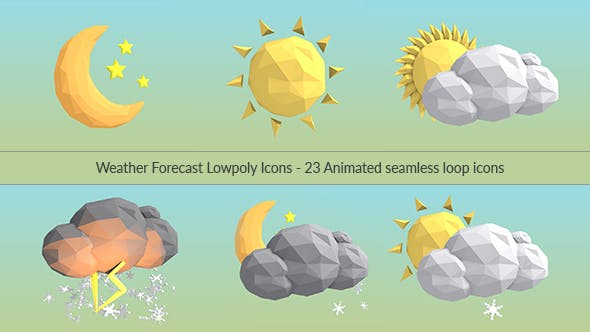 Thumbnail for Weather Forecast Lowpoly Icons