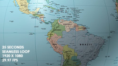 Rotating Globe World Political Map Equator Focus