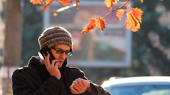 Thumbnail for Young Man Talking On The Phone In The Park
