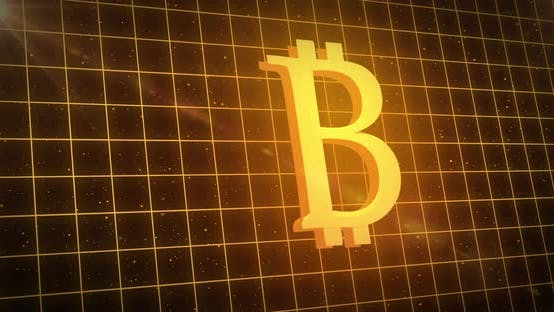 Golden bitcoin symbol over yellow grid against space