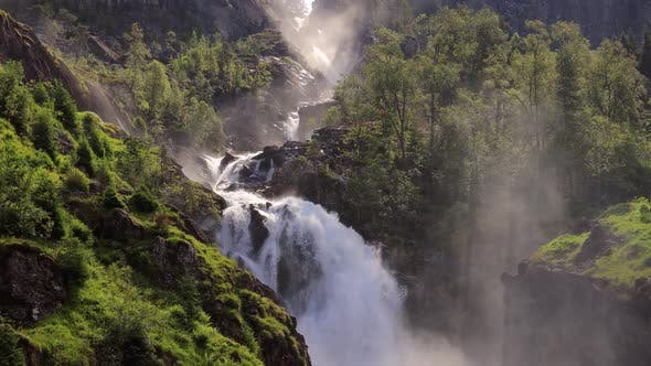 Cover Image for Latefossen Is One of the Most Visited Waterfalls in Norway and Is Located Near Skare and Odda