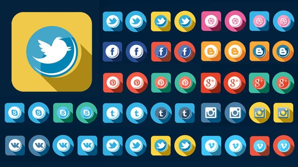 Thumbnail for 56 Flat Style Animated Social Icons
