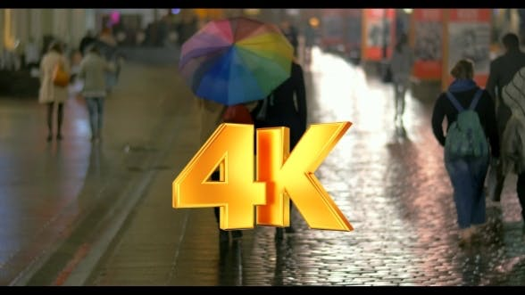 Thumbnail for City Walk Under Colorful Umbrella In Rainy Evening