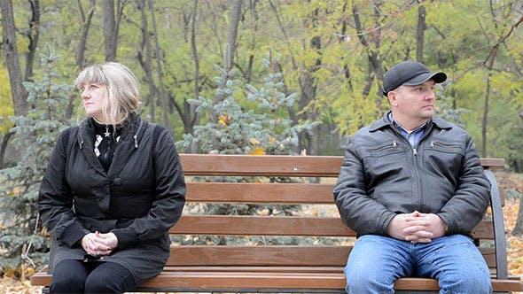 Sad Couple on a Bench