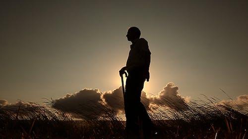 Silhouette Old Men Walking 2