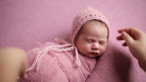 Sleeping Newborn Baby Before Photosession