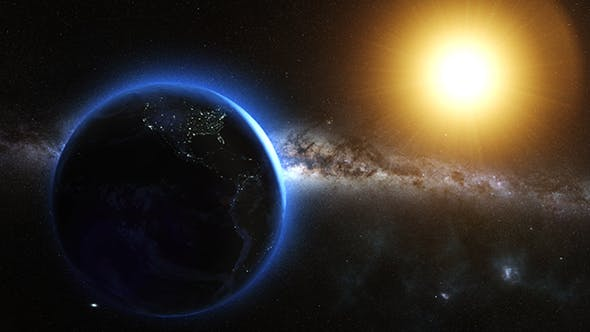 Thumbnail for Earth And Sun From Space Orbit